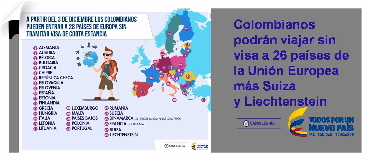 Colombianos Podran Viajar Sin Visa A  Paises De La Union Europea Mas Suiza Y Liechtenstein